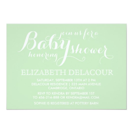 Mint Green Modern Baby Shower Invitation