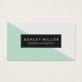 Mint Green Modern Color Block Business Card