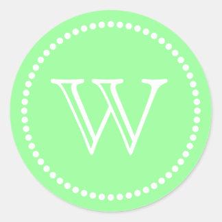 Mint Green Monogram Envelope Seals Favor Tags Round Sticker