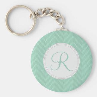 Mint Green Monogram Thin Chevron Pattern Basic Round Button Key Ring