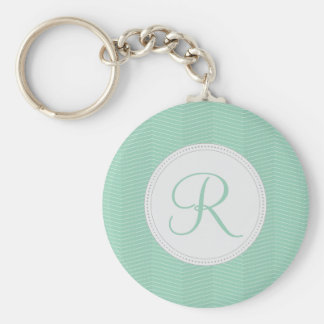 Mint Green Monogram Thin Chevron Pattern Key Ring
