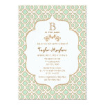 Mint Green Moroccan Gender Neutral Baby Shower 13 Cm X 18 Cm Invitation Card