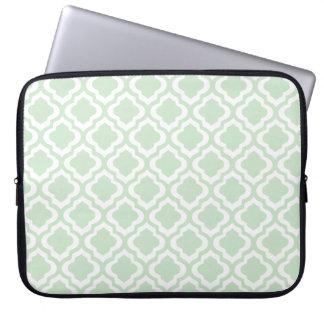 Mint Green Moroccan Quatrefoil Clover Laptop Computer Sleeves