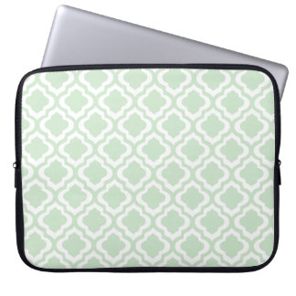 Mint Green Moroccan Quatrefoil Clover Laptop Sleeve