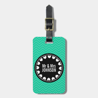 Mint green Mr & Mrs luggage tag for newly weds