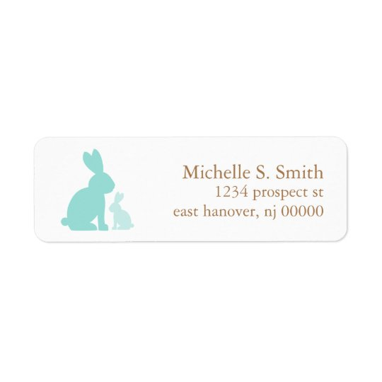 Mint Green Mum and Baby Rabbits Return Address Label