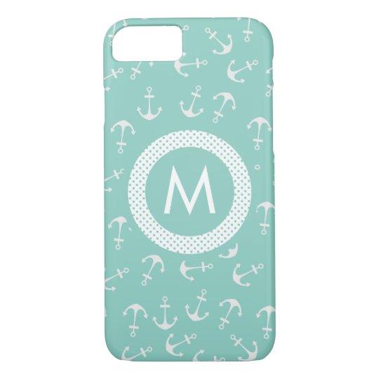Mint Green Nautical Monogram iPhone 7 Case