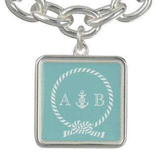 Mint Green Nautical Rope and Anchor Monogrammed