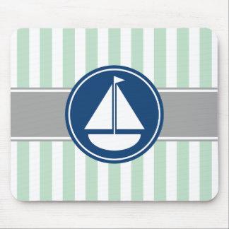 Mint Green Nautical Sailboat Stripes Mouse Mat