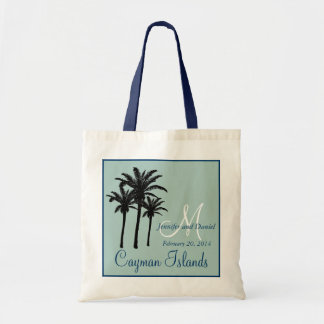 Mint Green Navy Blue Beach Wedding Palm Trees Budget Tote Bag