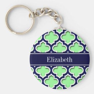 Mint Green, Navy Moroccan #5DS Navy Name Monogram Key Ring