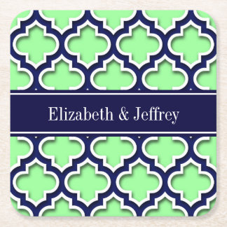 Mint Green, Navy Moroccan #5DS Navy Name Monogram Square Paper Coaster