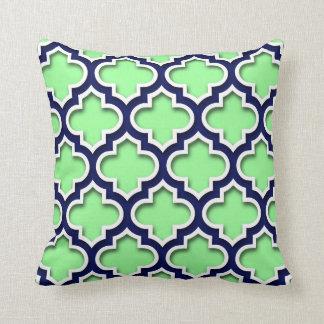 Mint Green Navy White Moroccan Quatrefoil #5DS Cushion
