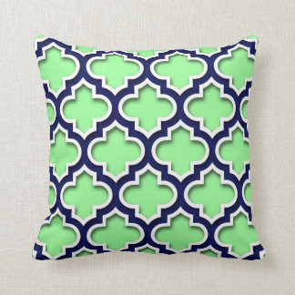 Mint Green Navy White Moroccan Quatrefoil #5DS Throw Cushion