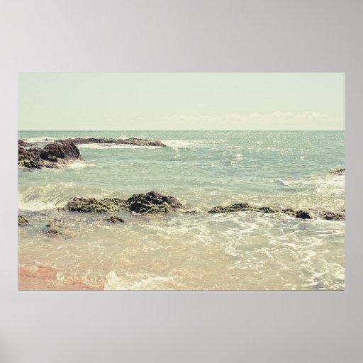 Mint Green Ocean Pastel Beach Photography Poster