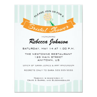Mint Green & Orange Bridal Shower Personalized Announcement