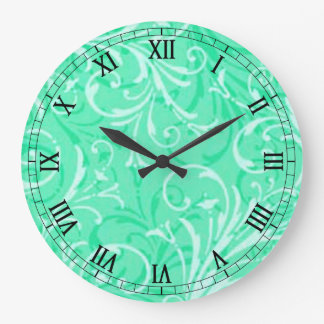 Mint Green Ornamental Round Roman Numerals Clock