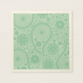 Mint green paisley pattern disposable napkin