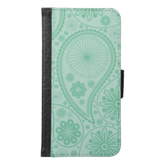 Mint green paisley pattern samsung galaxy s6 wallet case