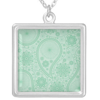 Mint green paisley pattern silver plated necklace