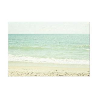 Mint Green Pastel Beach Photography Canvas Print