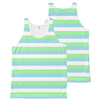 Mint Green, Pastel Blue and White Stripes All-Over Print Tank Top