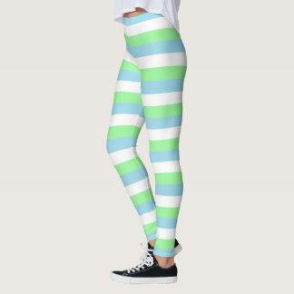 Mint Green, Pastel Blue and White Stripes Leggings