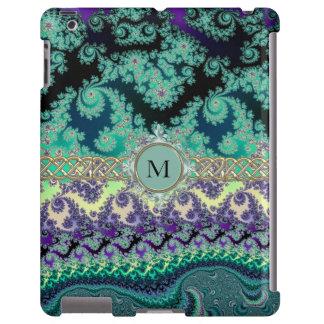 Mint Green Pastel Fractal Monogram iPad Case