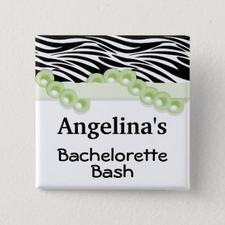 Mint Green Pearls And Ribbon Guest Party Favor 15 Cm Square Badge
