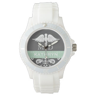 MINT GREEN PERSONALIZED DOCTOR CADUCEUS CHALKBOARD WRIST WATCHES