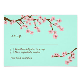 Mint Green & Pink Cherry Blossom Modern RSVP Card