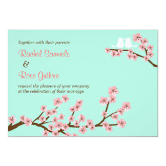 Mint Green & Pink Cherry Blossom Modern Wedding Card