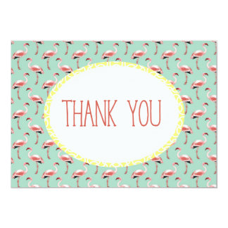 Mint green Pink flamingo tropical summer thank you Card