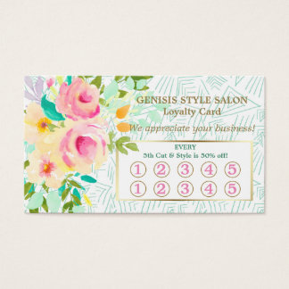 Mint Green Pink Floral Beauty Salon Loyalty Card