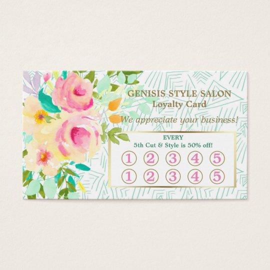 Mint Green Pink Floral Beauty Salon Loyalty Card
