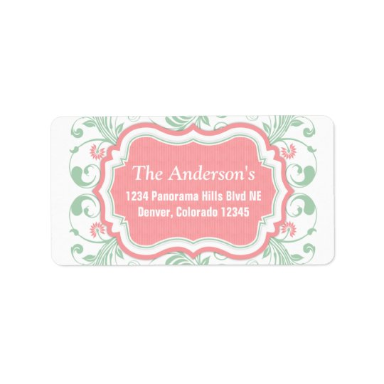 Mint Green Pink Floral Return Address Mailing Address Label