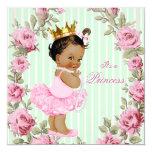 Mint Green Pink Rose Ethnic Ballerina Baby Shower 13 Cm X 13 Cm Square Invitation Card