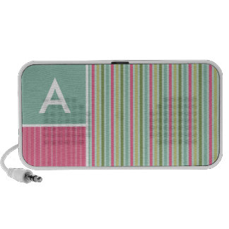 Mint Green Pink Stripes Portable Speakers