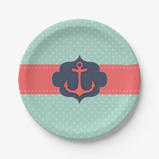 Mint Green Polka Dot Coral Pink Anchor Paper Plate