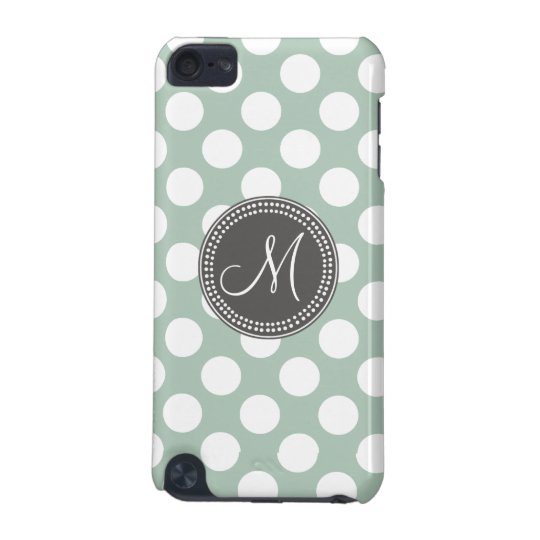 Mint Green Polka Dot Monogram iPod Touch (5th Generation) Cases