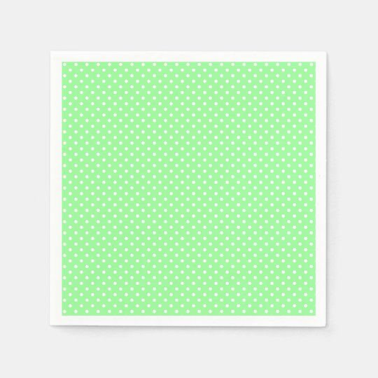 Mint Green Polka Dot Pattern Paper Napkins