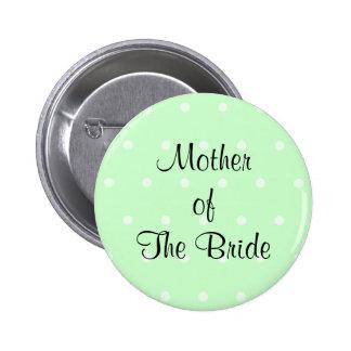 Mint Green Polka Dot Pattern. Wedding Button