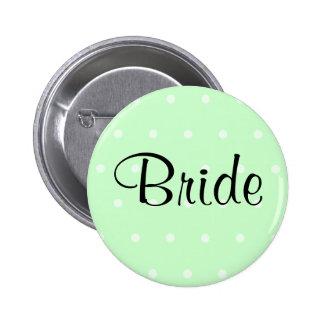 Mint Green Polka Dot Pattern. Wedding Pins