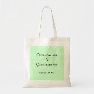 Mint Green Polka Dot Pattern. Wedding Canvas Bag