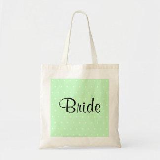Mint Green Polka Dot Pattern. Wedding Budget Tote Bag