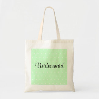 Mint Green Polka Dot Pattern. Wedding Budget Tote Bag