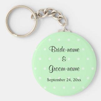 Mint Green Polka Dot Pattern. Wedding Keychains