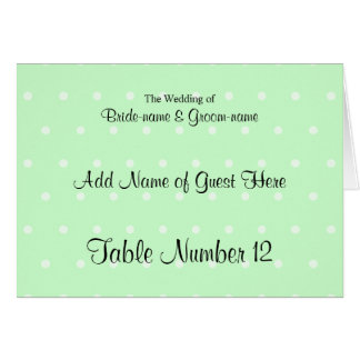 Mint Green Polka Dot Pattern. Wedding Place Cards