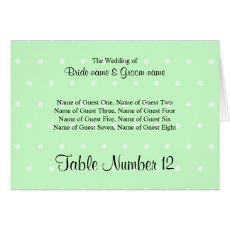 Mint Green Polka Dot Pattern Wedding Place Cards