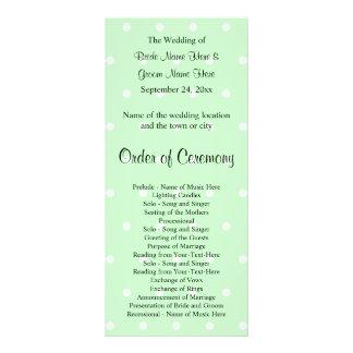 Mint Green Polka Dot Pattern. Wedding Program Full Colour Rack Card